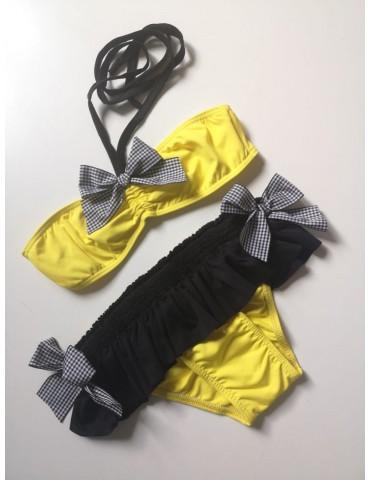 MON PETIT BONBON Inicio Bikini amarillo y negro de mon